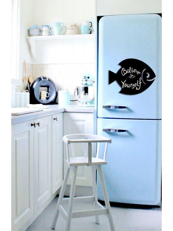 Fish - Memo Board for Kitchen - Magnetic Chalkboard for Fridge, Kitchen Blackboard Notepad, Weekly Planner BeCrea - 1