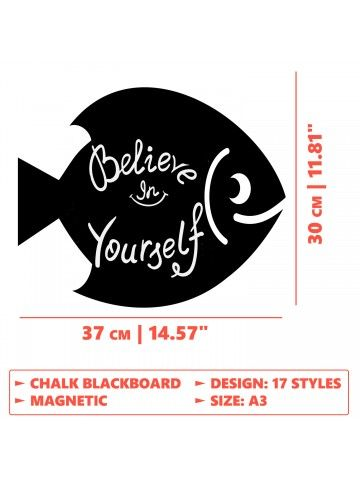 Fish - Memo Board for Kitchen - Magnetic Chalkboard for Fridge, Kitchen Blackboard Notepad, Weekly Planner BeCrea - 5