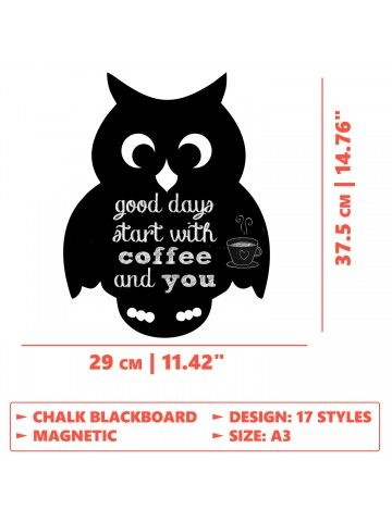 Owl - Memo Board for Kitchen - Magnetic Chalkboard for Fridge, Kitchen Blackboard Notepad, Weekly Planner BeCrea - 3