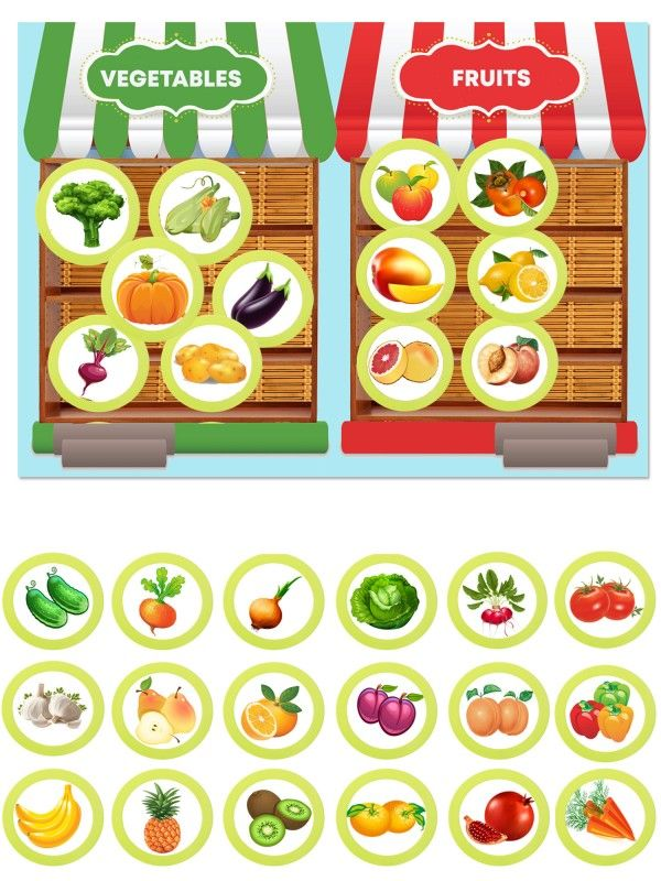 Магнитная игра - Фрукты и овощи BeCrea - 1