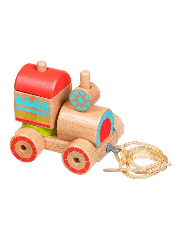 Каталка-сортер паровозик - обучающие деревянные игрушки Lucy&Leo Lucy&Leo - 1