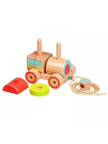 Каталка-сортер паровозик - обучающие деревянные игрушки Lucy&Leo Lucy&Leo - 7