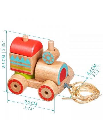 Каталка-сортер паровозик - обучающие деревянные игрушки Lucy&Leo Lucy&Leo - 8