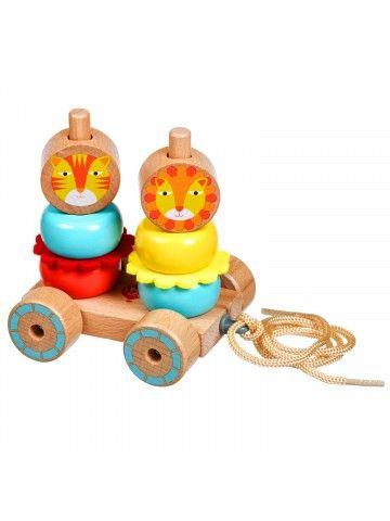 Velkamā rotaļlieta – piramīda Lauvas - Attīstošās koka rotaļlieta Lucy&Leo Lucy&Leo - 1