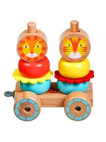 Velkamā rotaļlieta – piramīda Lauvas - Attīstošās koka rotaļlieta Lucy&Leo Lucy&Leo - 5