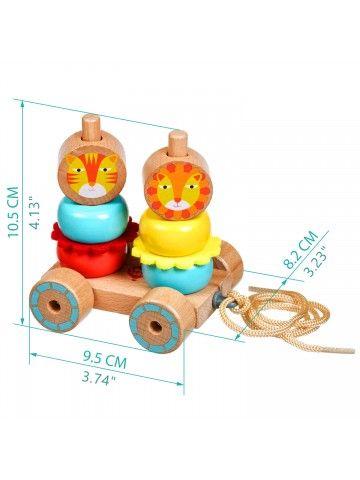 Каталка-пирамидка Львы - обучающие деревянные игрушки Lucy&Leo Lucy&Leo - 6