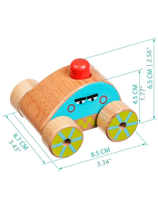 Машинка-пищалка - обучающие деревянные игрушки Lucy&Leo Lucy&Leo - 2